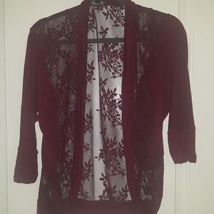 Sultry red lace cardigan